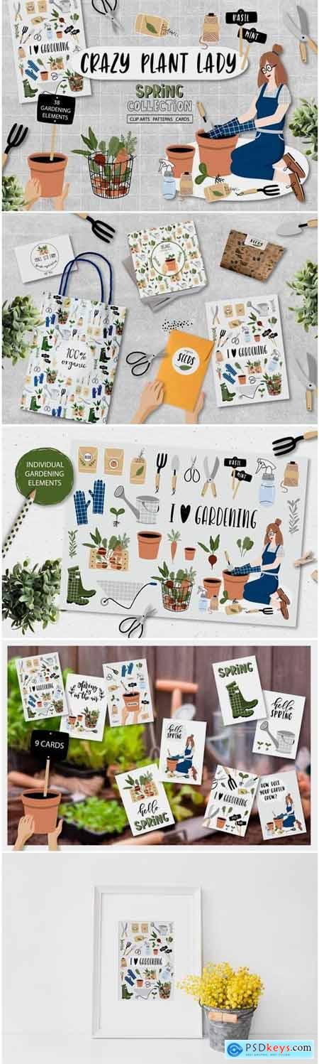 Creativemarket Crazy Plant Lady - Gardening Set 2359217