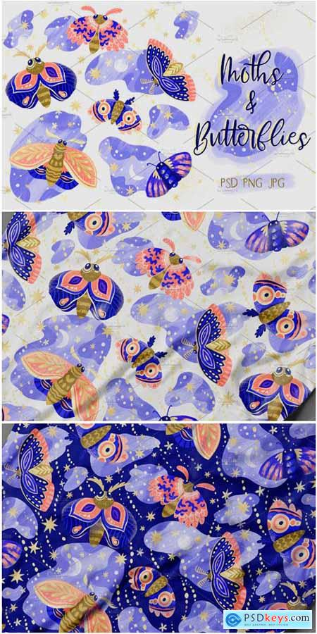 Creativemarket Beautiful Moths 3392135