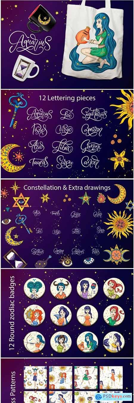 Creativemarket Zodiac Nymphs. Big Graphic Set. 3739896