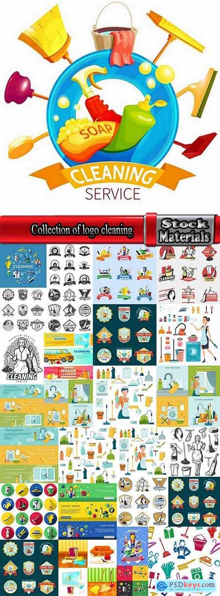 Collection of logo cleaning company business card icon means for cleaning and washing 25 EPS