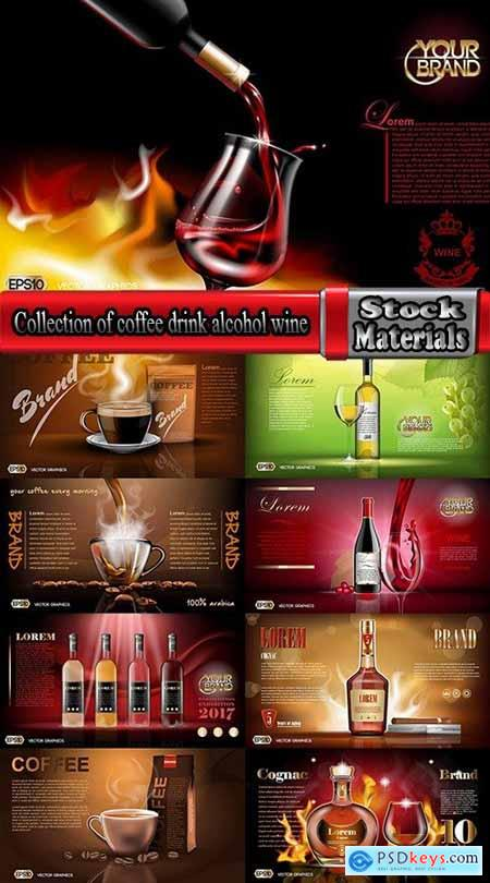 Collection of coffee drink alcohol wine whiskey brandy cognac 9 EPS