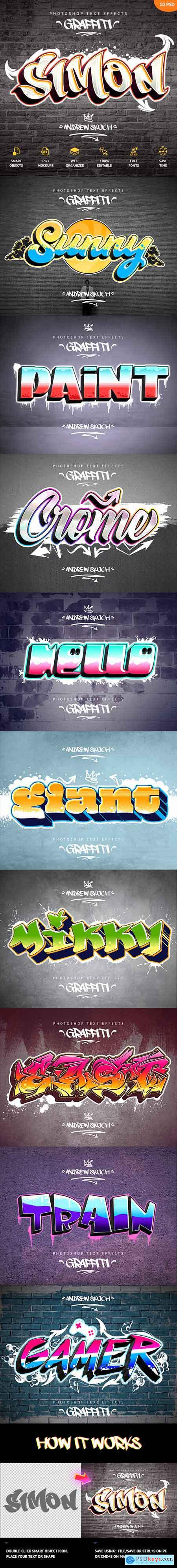 Graffiti Text Effects - 10 PSD