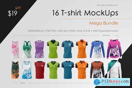 16 T-shirt MockUps Mega Bundle