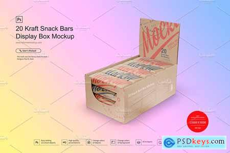 20 Kraft Bars Display Box Mock-up