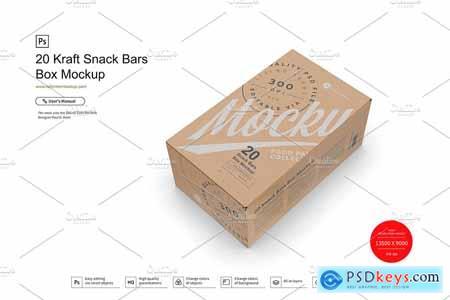 20 Kraft Snack Bars Box Mockup
