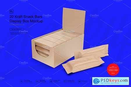 Kraft Box & Snack Bars Mockup