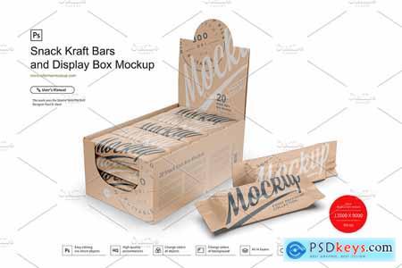 Kraft Snack Bars & Box Mockup
