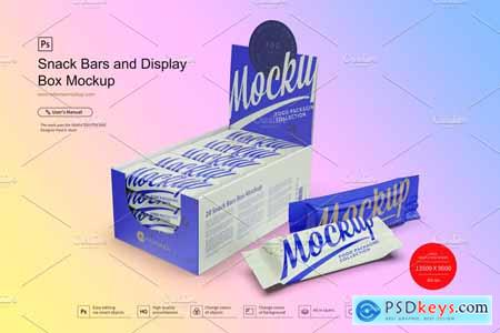 Snack Bars and Display Box Mockup