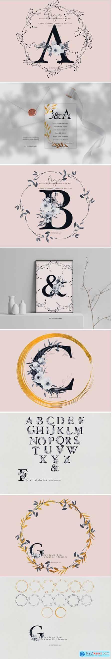 Elegant Gray Florals Alphabet 1408173