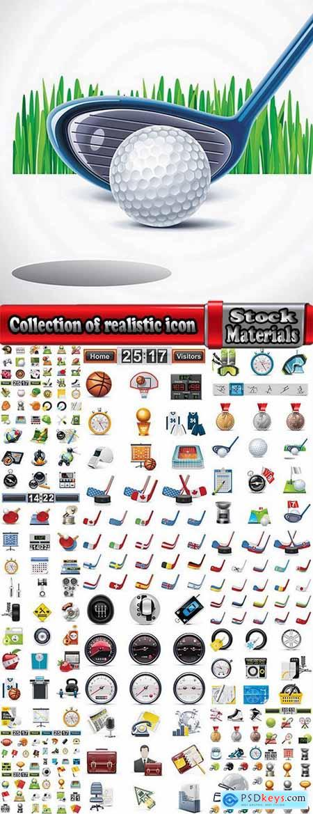 Collection of realistic icon motorsports racing Football Golf Hockey baseball 25 EPS