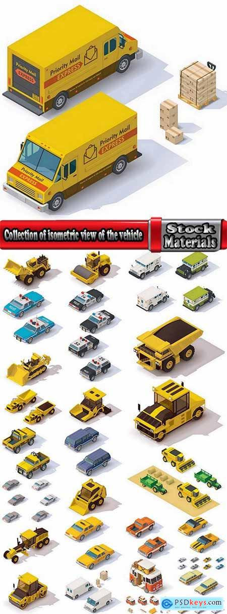 Collection of isometric view of the vehicle construction machinery tractor truck 25 EPS