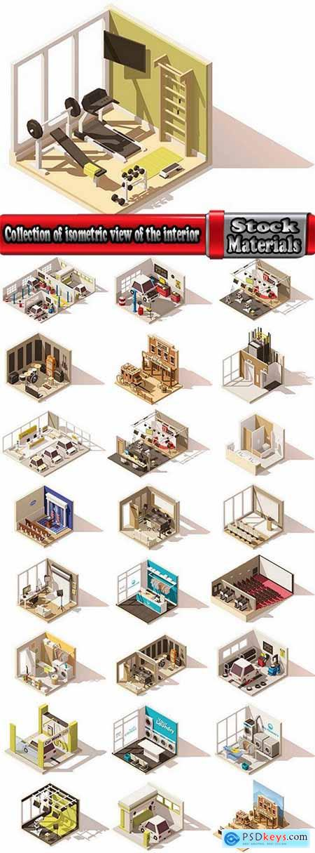 Collection of isometric view of the interior of the room bathroom bedroom gym 25 EPS