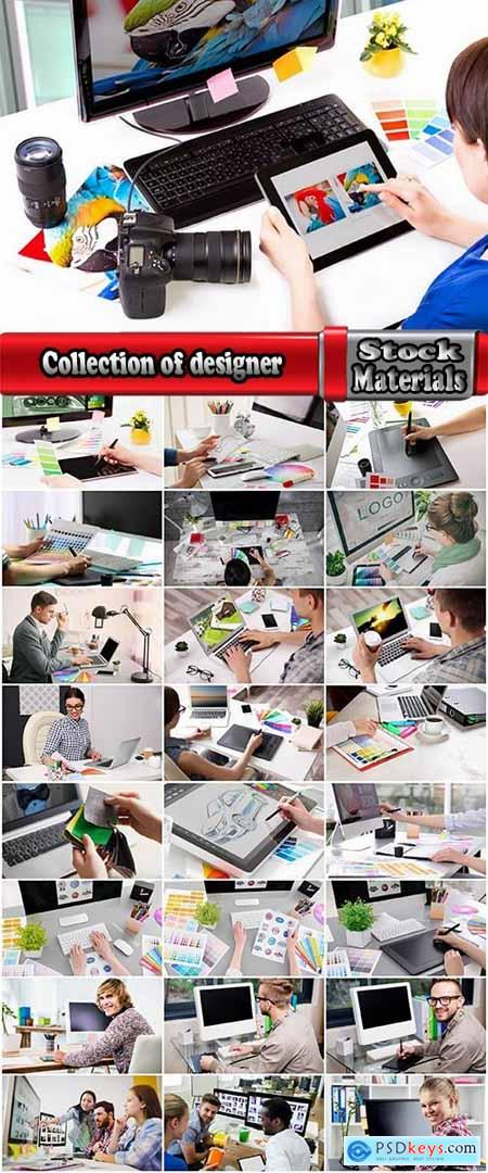 Collection of designer designing drawing plan a palette computer simulation 25 HQ Jpeg