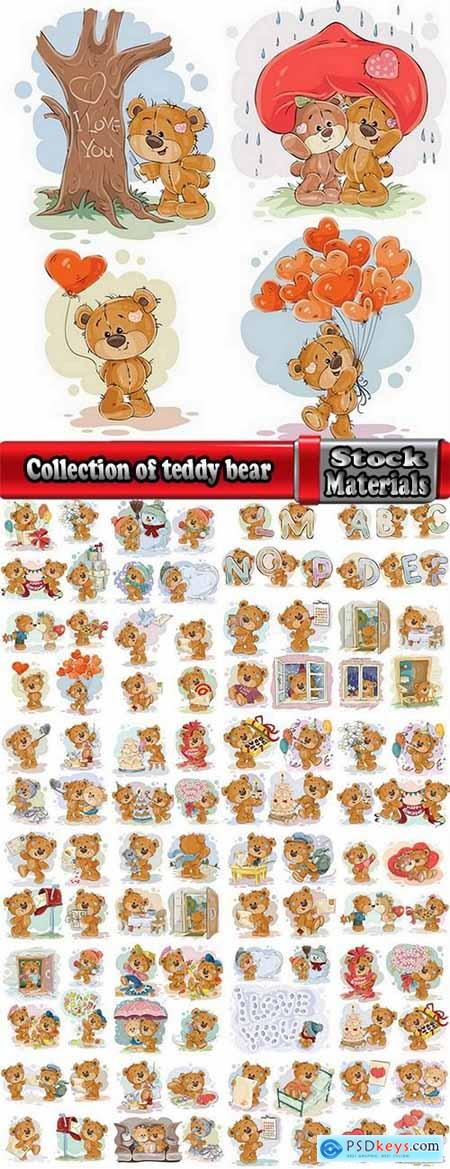 Collection of teddy bear gift card for Valentine's Day Love Heart 25 EPS