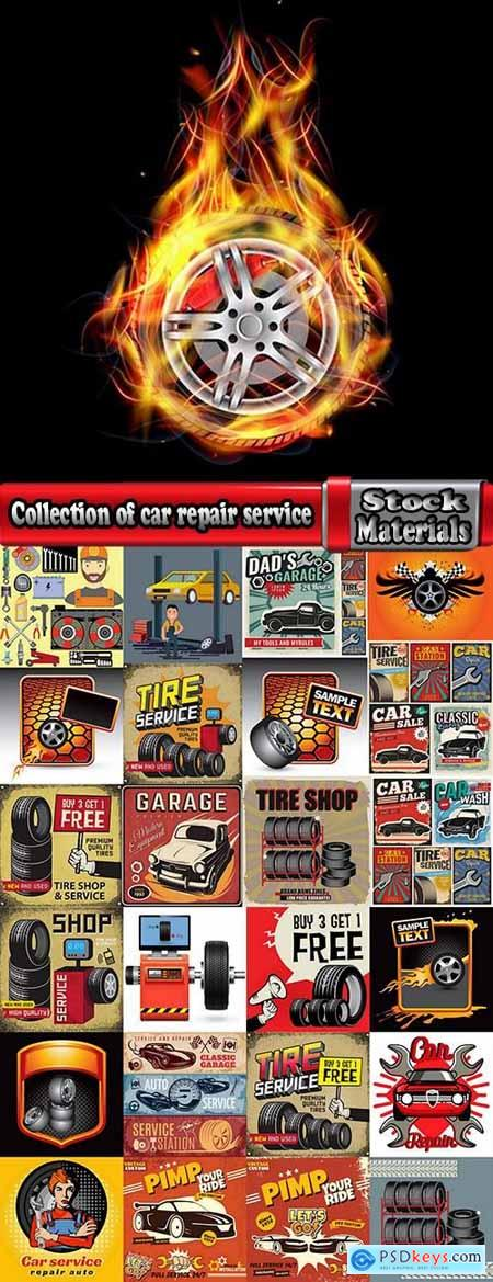 Collection of car repair service flyer banner label advertising the wheel 25 EPS