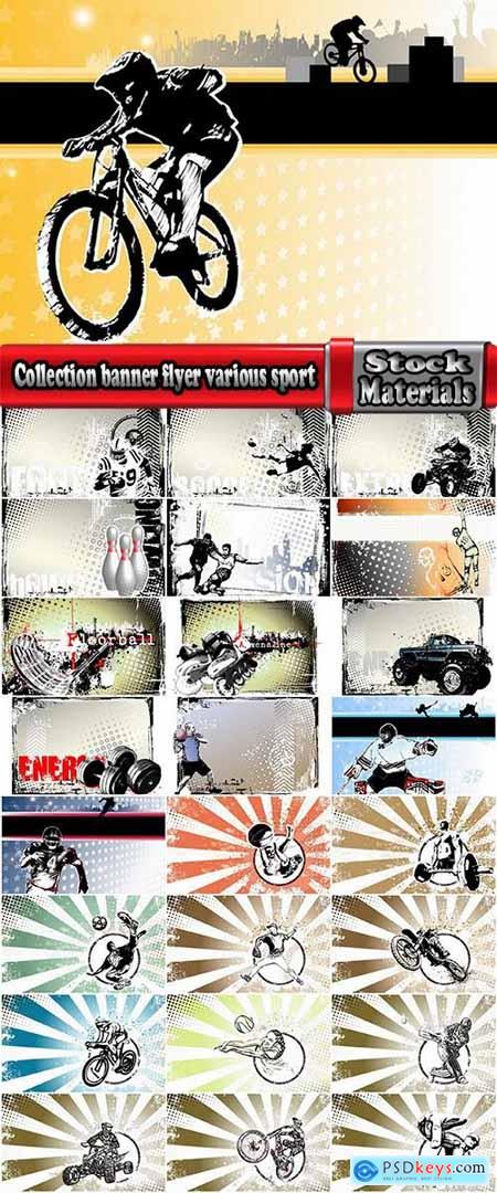 Collection banner flyer various sport hockey basketball football baseball motorsport cycling 25 EPS