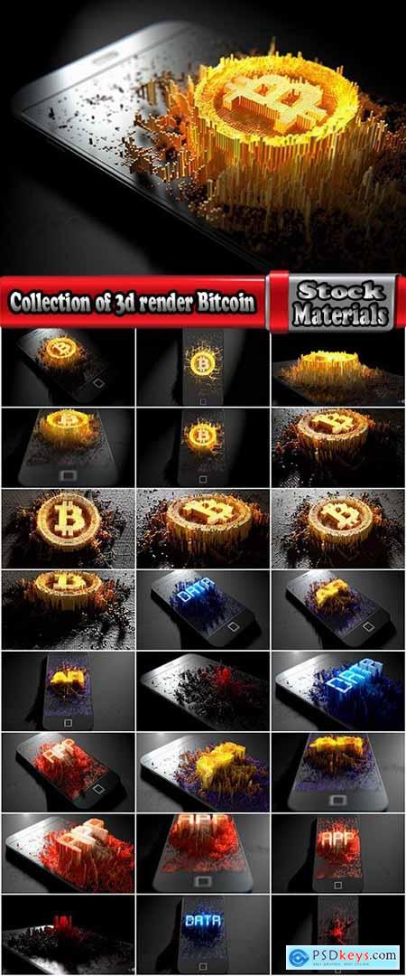 Collection of 3d render Bitcoin electronic payment cryptocurrency 25 HQ Jpeg