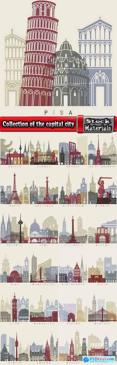 Collection of the capital city of the world monument landmark vector image 25 EPS