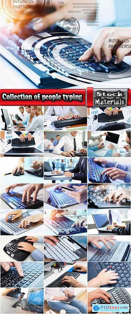 Collection of people typing on computer business technology 25 HQ Jpeg