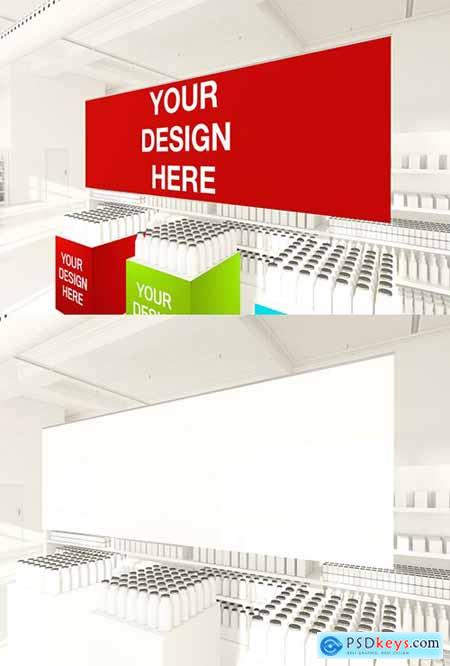 Hanging Poster and Shelves in a Supermarket Mockup