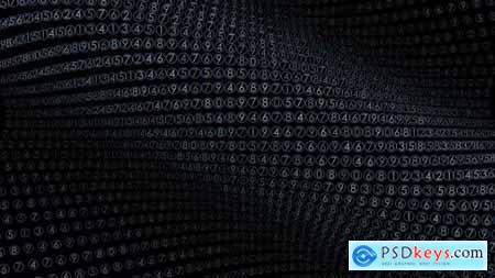 Videohive Virtual Numbers Data Cloud Flow Stream Graphic on Black Background