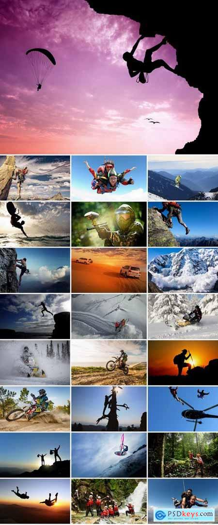 Collection adrenaline extreme sport tourism climbing parachuting motorcycle bike 25 HQ Jpeg