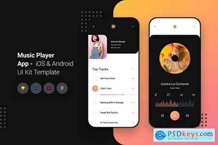 Music Player App iOS & Android UI Kit Template » Free Download