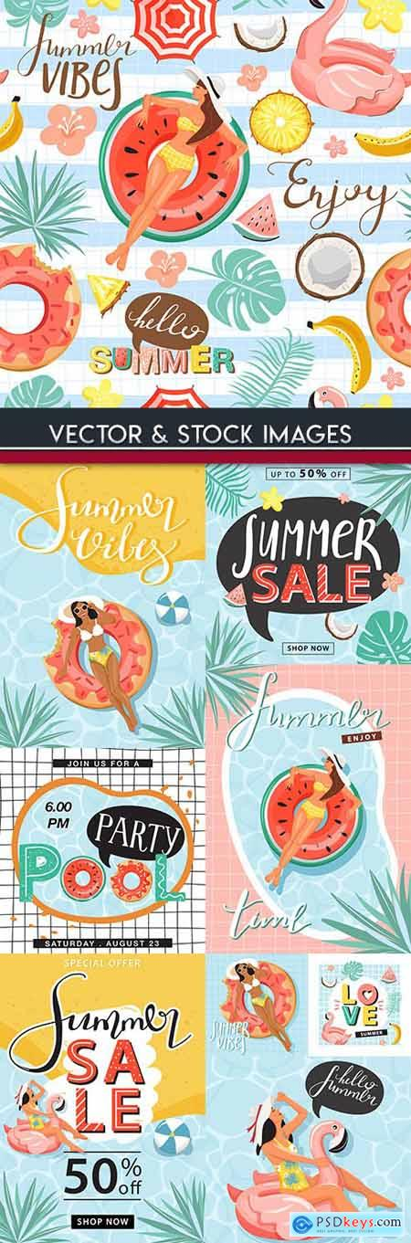 Summer sales and discount holiday banner illustrations 6