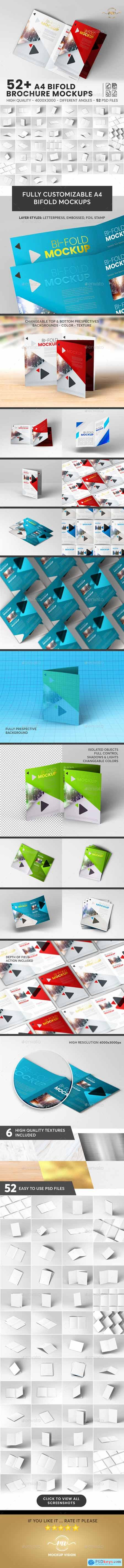 Graphicriver 52+ A4 Bifold, Brochure Mockup Bundle
