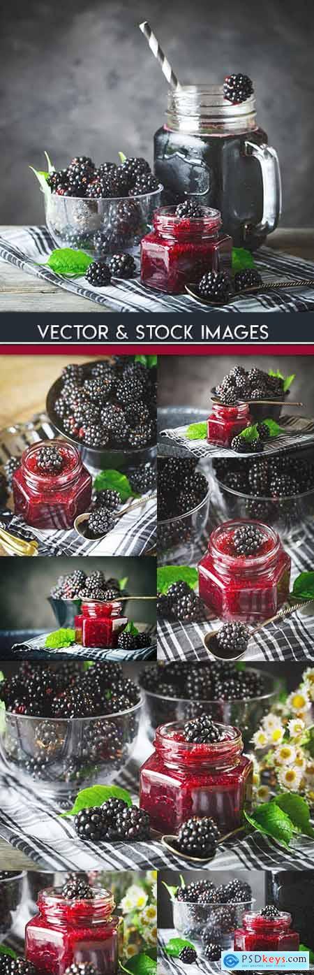 Ripe blackberry and raspberry jam useful dessert