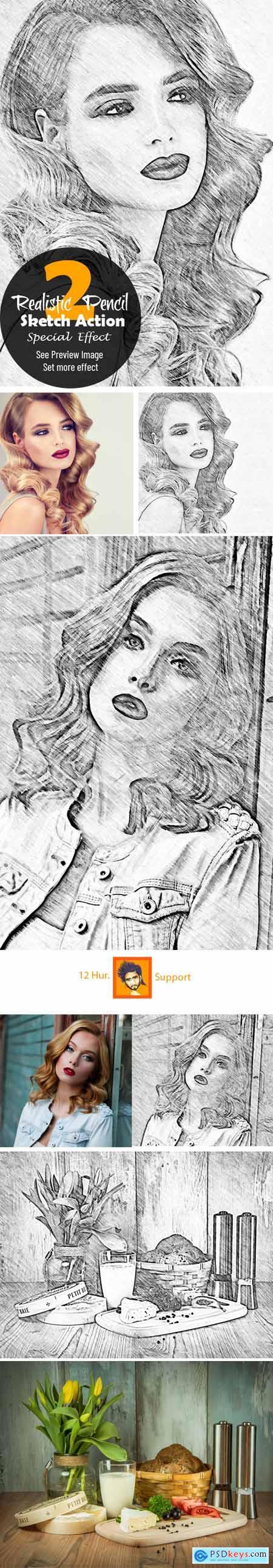Realistic Pencil Sketch Action 2