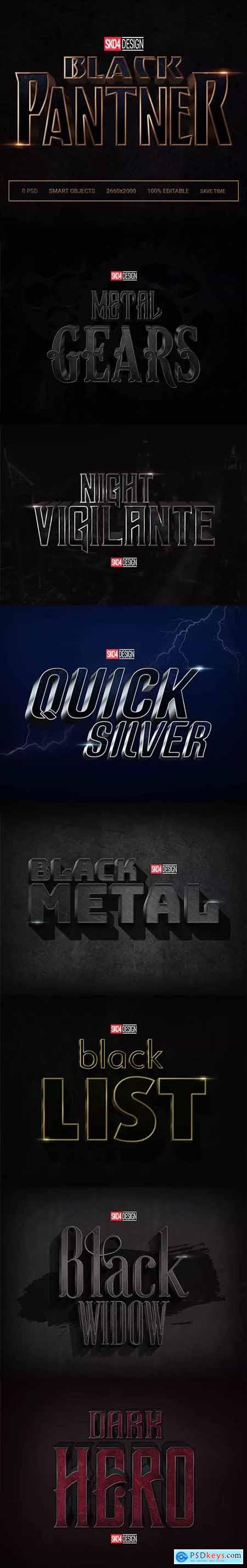 Black & Metal 3D 8 PSD Cinematic Effects