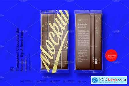 Transparent Chocolate Bar Mockup Top & Back Side View