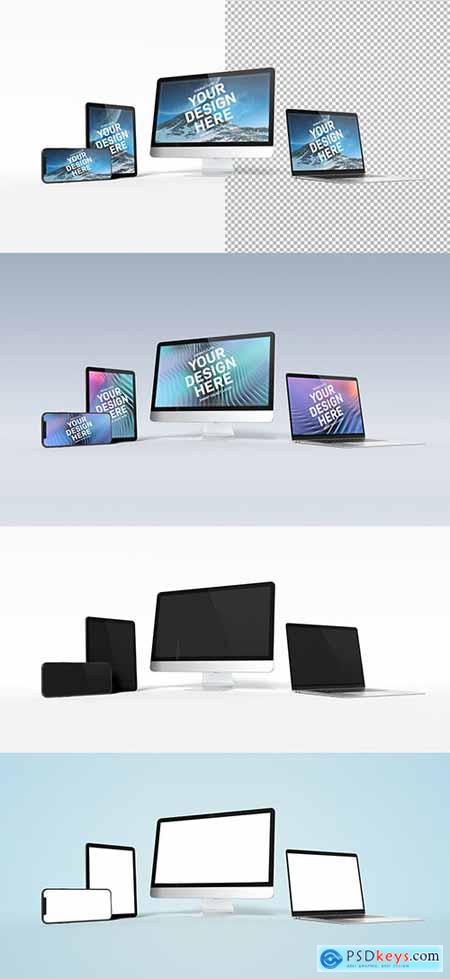Computer, Laptop, Tablet, and Smartphone Isolated on White Mockup