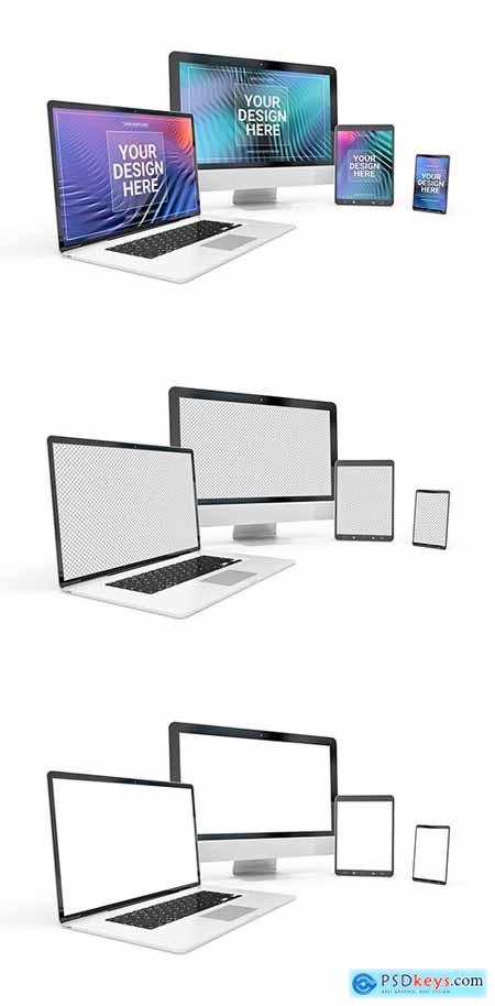 Computer, Laptop, Phone, and Tablet on White Mockup