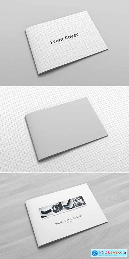 Stapled Landscape Oriented Brochure Catalog Mockup Cover