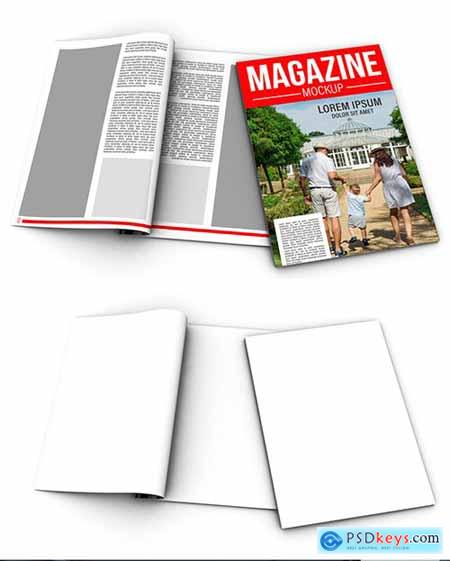Open and Closed Magazines Mockup
