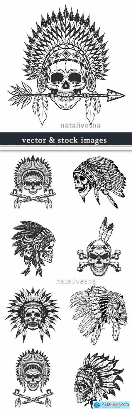 Indian headdress from feathers skull design vintage tattoo