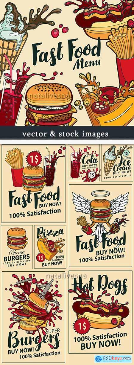 Menu fast food drinks and snack vector illustration
