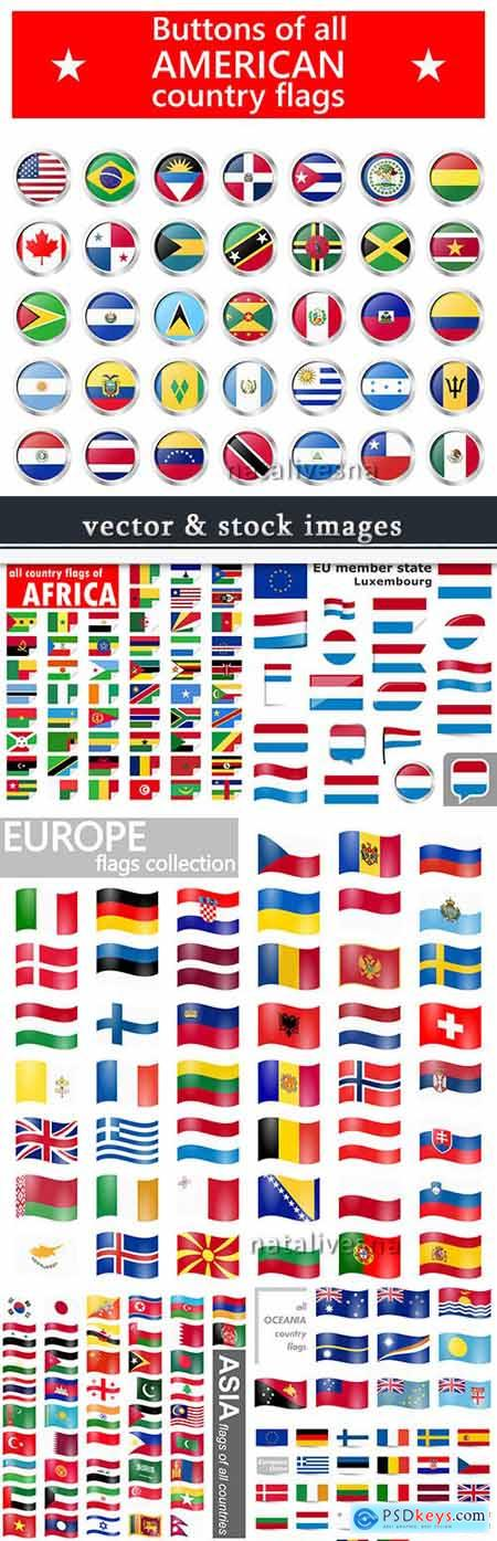 National flag country and republic vector icons collection 3