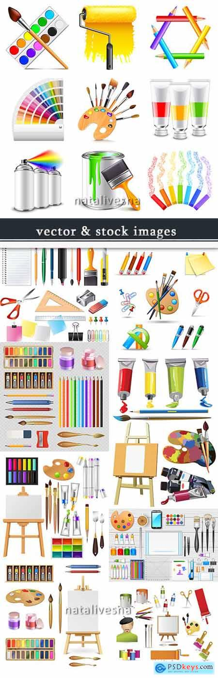 Easel watercolor paints and brushes set for drawing