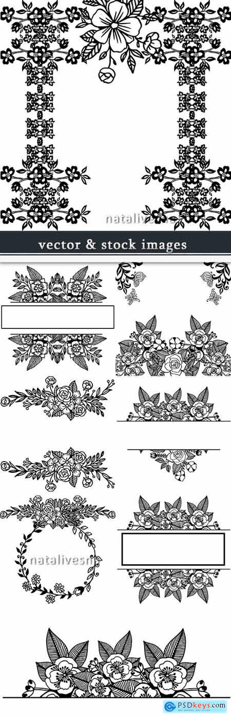 Flower decorative drawn by hand retro ornament