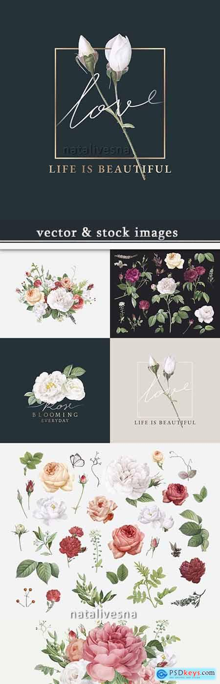 Decorative beautiful vintage flowers design of illustrations