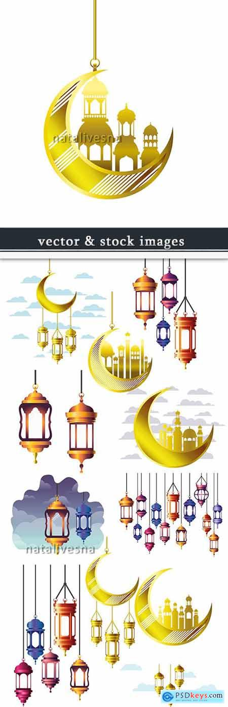 Moon and decorative lamp design elements Ramadan