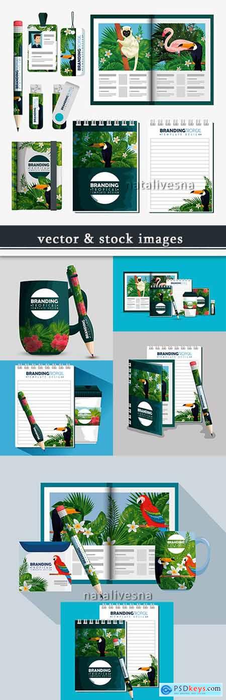 Tropical brand design corporate template for press