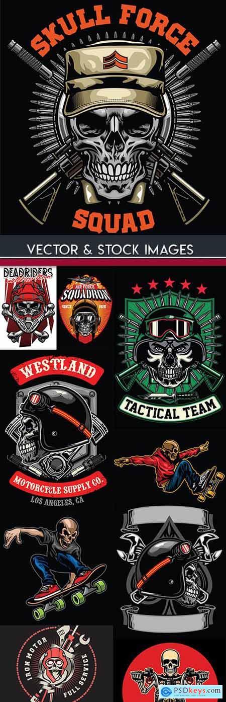 Skull motorcycle and doing stunt vintage illustration