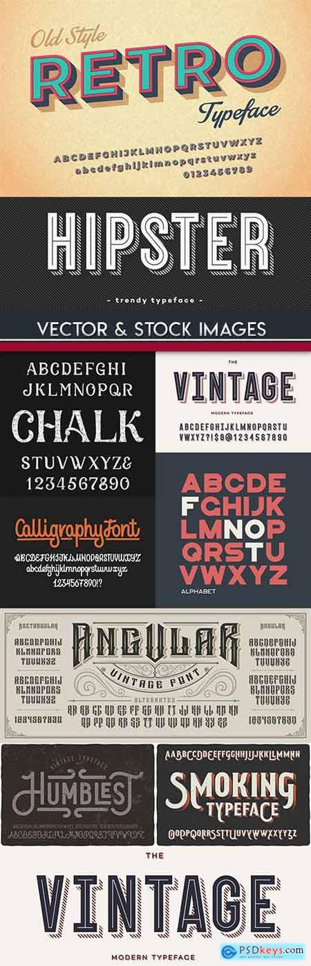 Vintage font and alphabet typography design collection 4