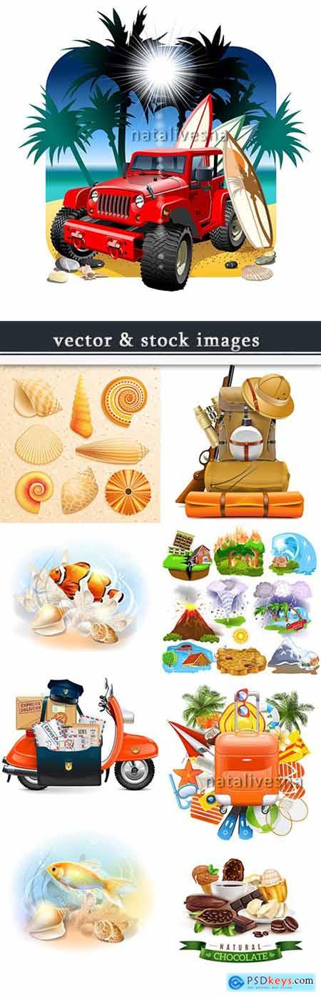 Summer realistic vector illustrations on different subjects