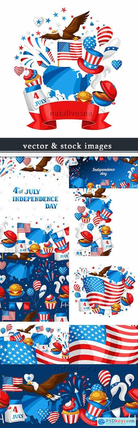 America Independence Day festive illustrations