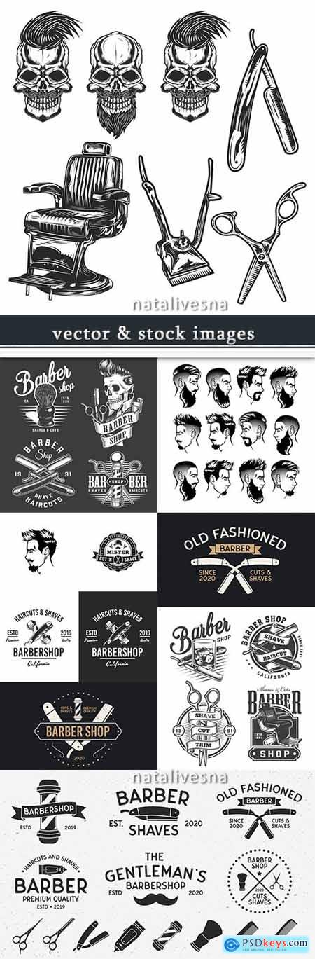 Barbershop professional tools for hairstyle design label